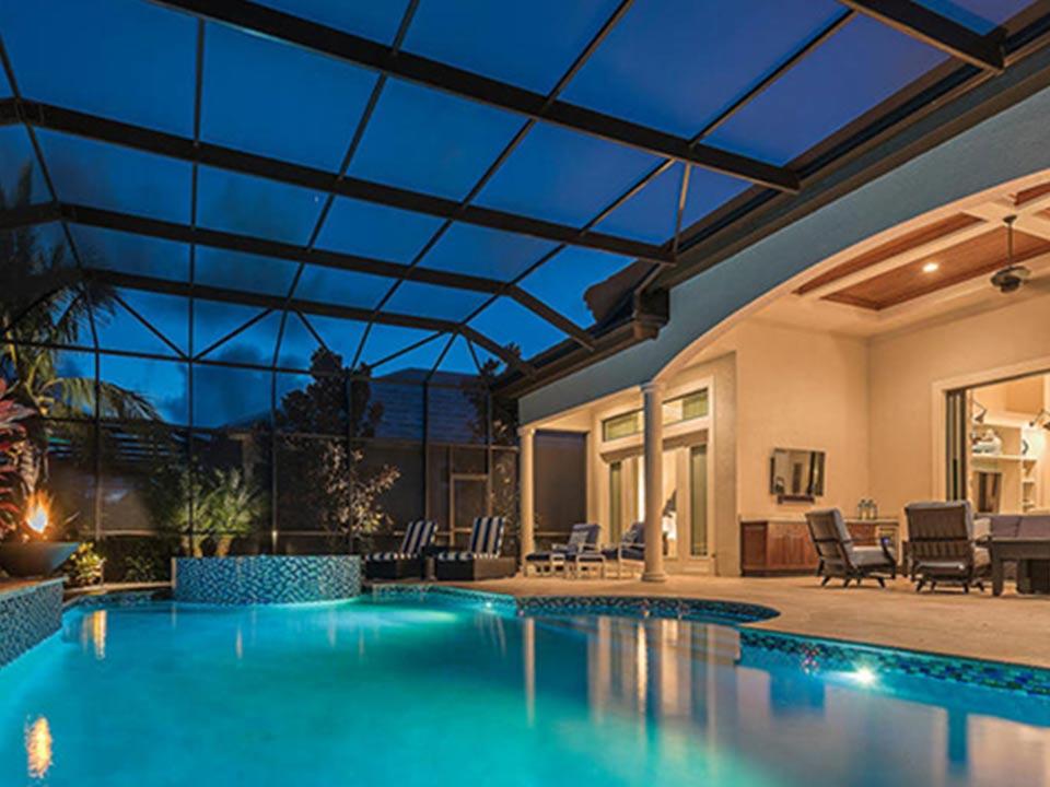 Pool and lanai at night