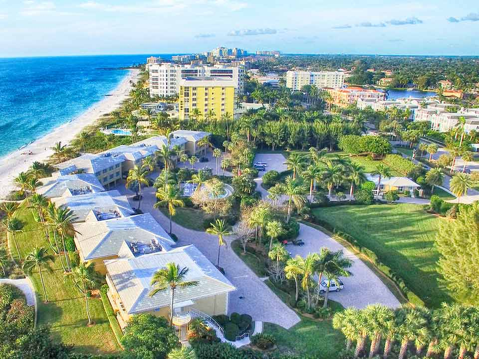 Aerial view of Naples Florida and coast